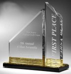 Multi-Faceted Dual Acrylic Column with Base Accent Color Achievement Awards